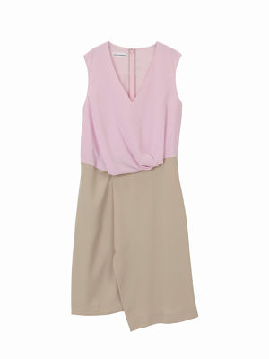 Colour switched drape dress   / pink × beige / S16DR05-2
