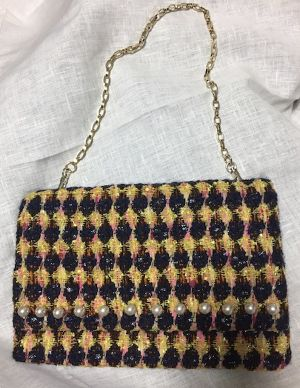 nd-1151/02  wool tweeds pearl cluch bag