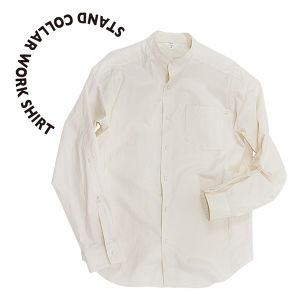Stand collar work shirt [Beige]