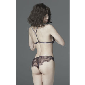 【17AW新作】Leaver lace and silk panty -Violet-