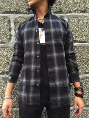 FLASHBACK Western Dress length Check-shirts BLACK