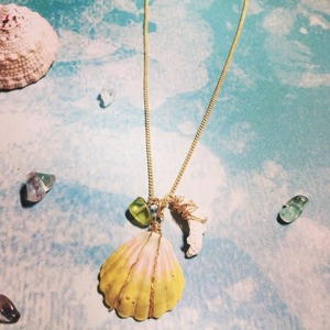 Sunrise Shell & coral necklace