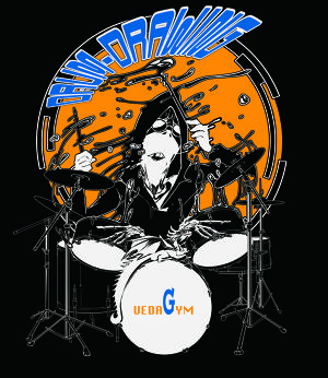 DRUM DRAWING T-shirt [BLUE]