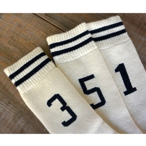Jackman Sock3 Wool Line Socks Off White×Navy(JM6430) 片足売り