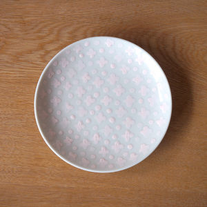 flower and dot plate ( pink )