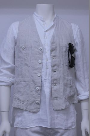 WORK VEST Linen OX Shambray 品番:171008 col.30
