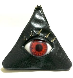 EYE TRIANGLE CLUTCH BAG / RED