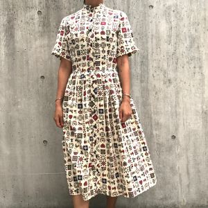 50's vintage animal-floral pleated dress