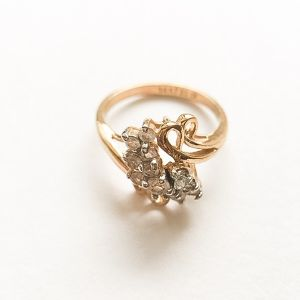 rhinestone & gold ring #16[r-46]