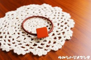 漆のヘアゴム【橙】(四角・小) / Square-shaped hair elastic in orange URUSHI[S]