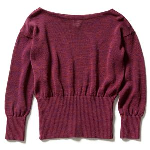 【FILL THE BILL - WOMENS】COTTON STRAW YARN BOAT NECK SWEATER - WINE