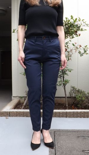 Ladys, CL002 8th Trousers (エイトトラウザース)ネイビーストレッチピケ