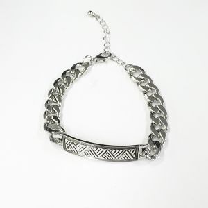 Metal Chain and Plate Bracelet (91460B,91461B)