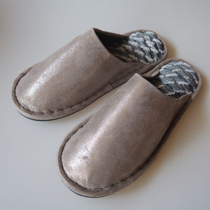 Large size /  Shining Pigskin leather and denim upcycle slippers 25cm