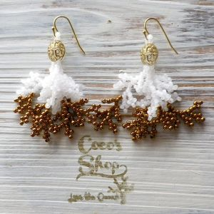 Coralreef motif Pierce -Gold Brown-