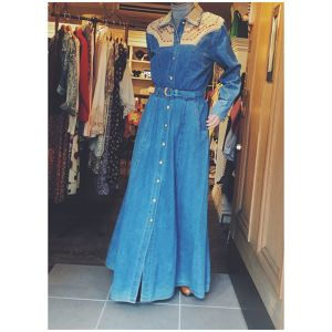 1980's Dead stock  denim long dress