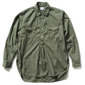 【FILL THE BILL】COTTON DOBBY STRIPE PULL OVER LONG SHIRT - OLIVE