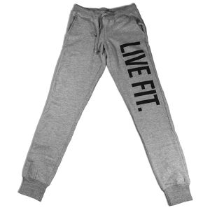 LIVE FIT Original Womens Jogger Sweat Pants - Heather Grey WS601