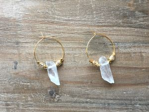 Crystal x gold beads hoops