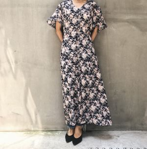 90's flower print long dress