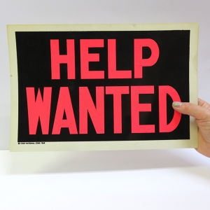 "1960's PLASTIC CARD ""HELP WANTED"""