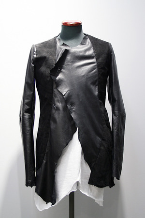 【60%OFF】【MINOAR】 Asymmetry Silver 2B  Leather Jacket (BLK)