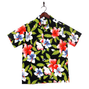Mountain Mens / Open Aloha shirt / Hibiscus Black