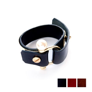 METAL PLATE LEATHER BANGLE/GOLD