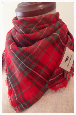 stole【fringe】【red×green/tartan check】