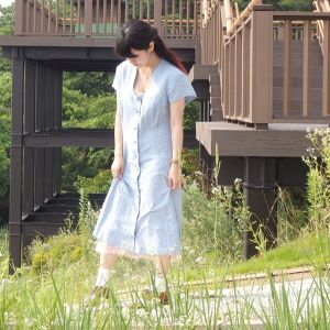 Blue Small Flower French Dress