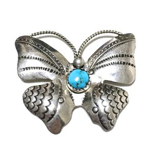 Navajo Vintage Sterling Silver & Turquoise Butterfly Broach
