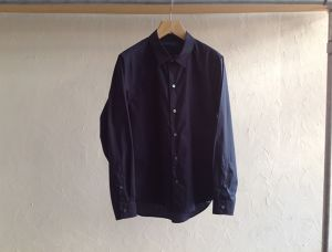 "semoh""cotton wide shirts navy"""