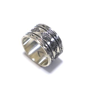 Navajo Sterling Silver Stamp Ring by Stanley Parker