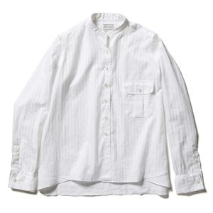 【FILL THE BILL】COTTON DOBBY STRIPE BAND COLLAR SHIRTS【WOMENS】- WHITE
