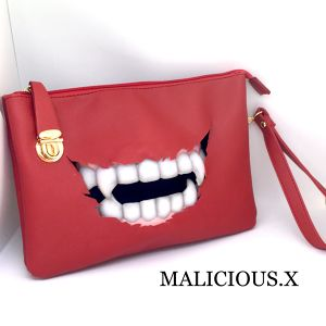 vampire clutch & shoulder bag / red