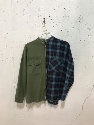 OLD PARK 2FACES SHIRT MILITARY×FLANNEL
