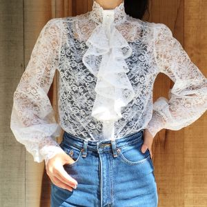 80's White lace ascot blouse