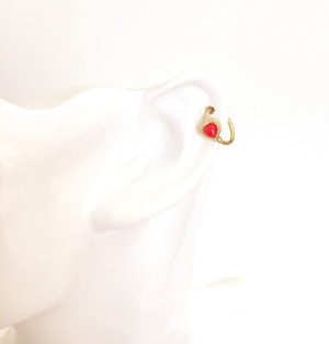 K18YG body jewelry #0004 VINTAGE HEART RING Red