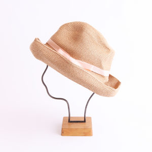 mature ha./BOXED HAT 101 mixbrown×light salmon pink