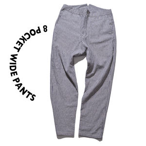 8 pocket Wide Pants [ Stripe ]