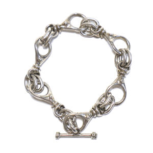 Vintage Sterling Silver Mexican Chain Link Toggle Bracelet