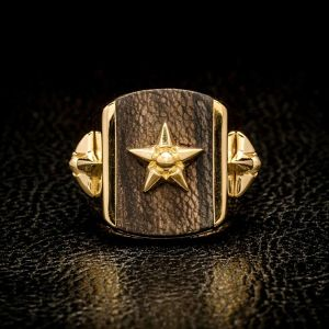 L&D WOOD RING 24K GOLD coating