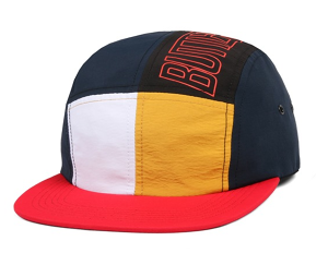 BUTTER GOODS OUTLINE 5 PANEL CAMP CAP NAVY/MANGO/RED