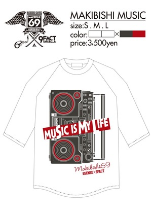 ラグランT-Shirts『MAKIBISHI MUSIC』
