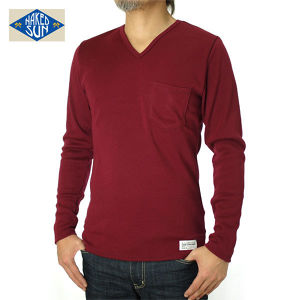 014005015(KNIT SEW V-NECK L/S )BURGUNDY