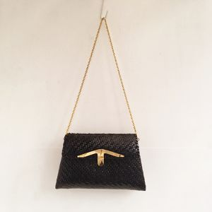 vintage  rattan shoulder & clutch bag