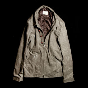 40'S ZIP&BUTTON JACKET GRAY BEIGE