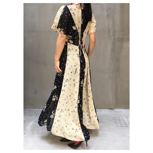 Vtg Patchwork flower print long dress