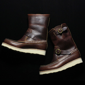 U.S. OIL LEATHER HAND MOCCASIN BOOTS BROWN
