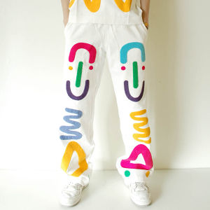 """ZL BY ZLISM"" needle punched white denim pants"